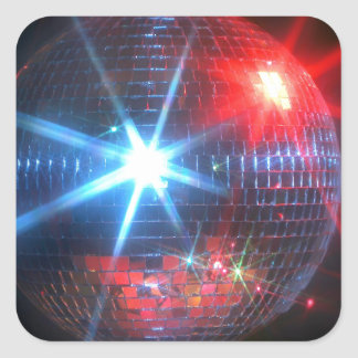 mirror disco ball with laser lights square sticker