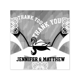Mirrored Swan Thank You Fountain Wedding Stamp