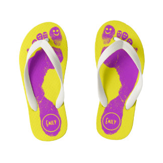 Mirth Purple Footprints Smiley-Toes™ Neon Yellow Kid's Jandals