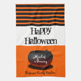 """Mischief is Brewing"" Personalized Halloween Tea Towel"
