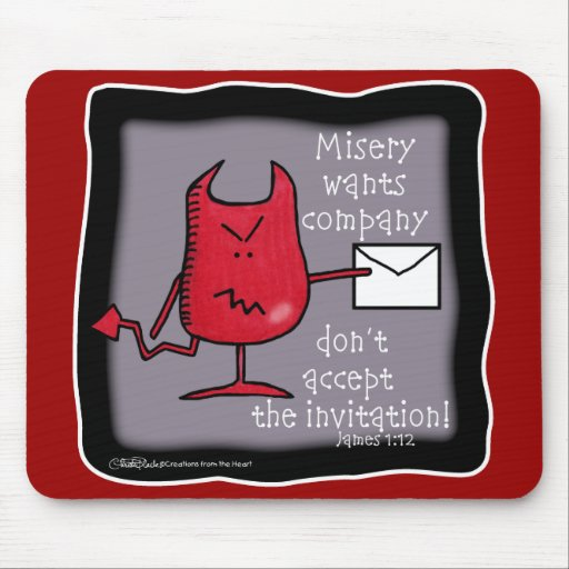 Misery Wants Company-Devil with Envelope Mousepads