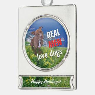Mishka Dog Silver Plated Banner Ornament