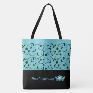 Miss America Aqua Crown Tote Bag Green Scrolls