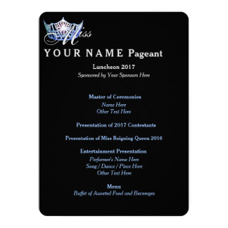 Miss America Blue Crown Luncheon Program Card 14 Cm X 19 Cm Invitation Card