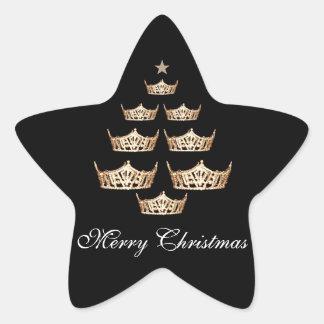 Miss America Crown Christmas Tree Sticker-Star Star Sticker