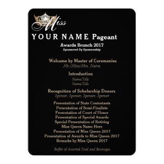 Miss America Gold Crown Awards Brunch Program Card 14 Cm X 19 Cm Invitation Card