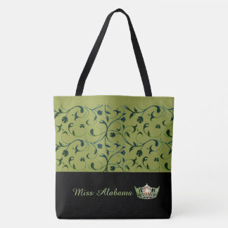 Miss America Olive Crown Tote Bag Green Scrolls