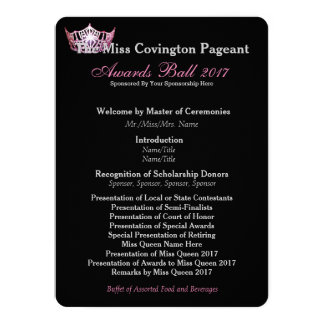 Miss America Pink Crown Awards Ball Program Card 14 Cm X 19 Cm Invitation Card