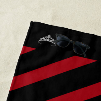 Miss America Red Stripe Tiara Crown Beach Towel
