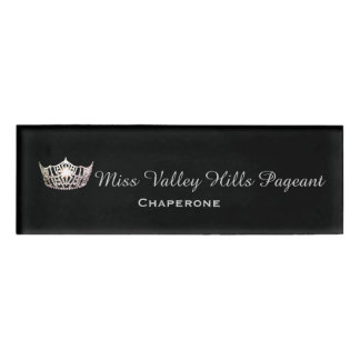 Miss America Silver Crown Rectangle Name Tag