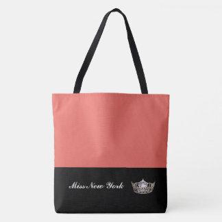 Miss America Silver Crown Tote Bag-Large Salmon