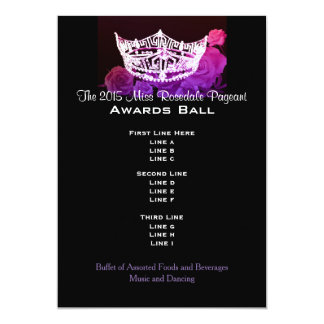 Miss America style Crown & Roses Awards Ball 13 Cm X 18 Cm Invitation Card