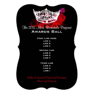 Miss America style Crown & Roses Awards Ball 5x7 Paper Invitation Card