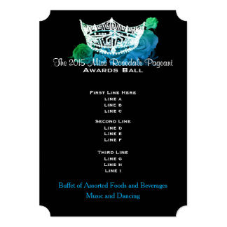 Miss America style Crown & Roses Awards Ball/Invtn 13 Cm X 18 Cm Invitation Card