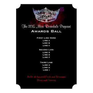 Miss America style Crown & Roses Awards Ball/Invtn 5x7 Paper Invitation Card