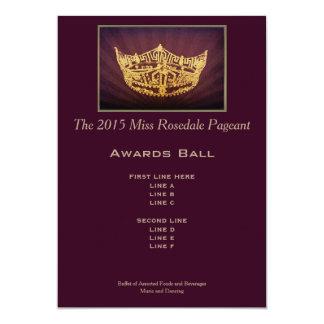 Miss America style Gold Crown Awards Ball Card 13 Cm X 18 Cm Invitation Card