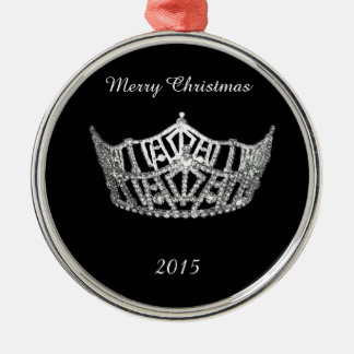 Miss America style Silver Crown Christmas Ornament
