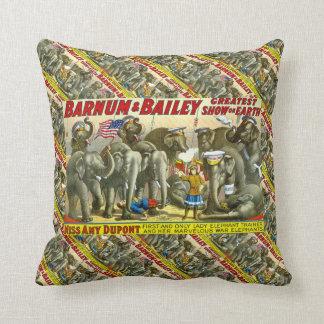 Miss Amy Dupont and War Elephants Vintage Circus Throw Pillow