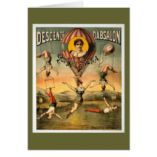 Miss Stena Flying Trapese Vintage Circus Poster Greeting Card