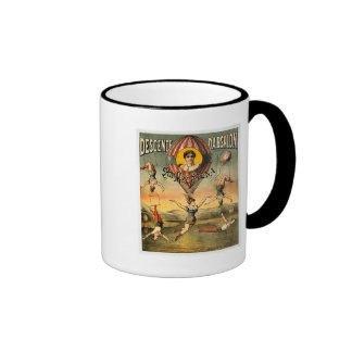 Miss Stena Flying Trapese Vintage Circus Poster Ringer Mug