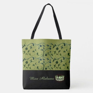 Miss USA Olive Crown Tote Bag Green Scrolls