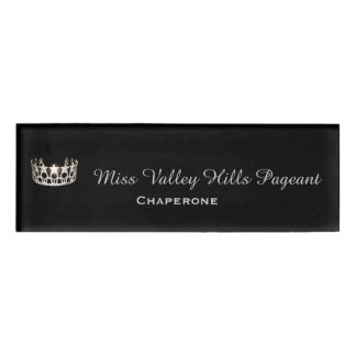 Miss USA Silver Crown Rectangle Name Tag