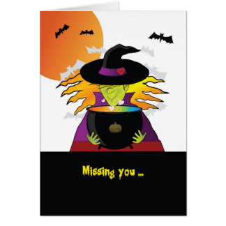 Missing You Halloween Witches Brew Card