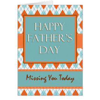 Missing You on Father's Day, Argyle Design Card