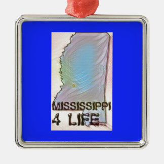 """""""Mississippi 4 Life"""" State Map Pride Design Christmas Ornament"""