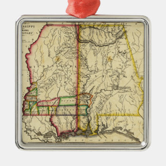 Mississippi and AlabamaPanoramic Map Christmas Ornament