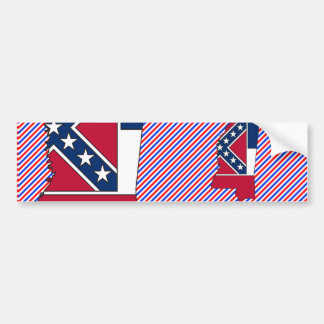 Mississippi Flag Map Bumper Sticker