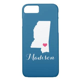 Mississippi Heart Blue Custom Monogram iPhone 8/7 Case