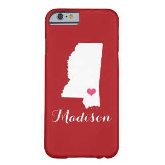 Mississippi Heart Maroon Custom Monogram Barely There iPhone 6 Case