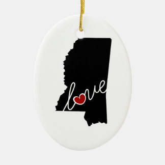 Mississippi Love!  Gifts for MS Lovers Christmas Ornament