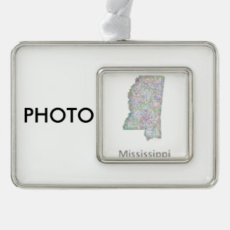 Mississippi map silver plated framed ornament