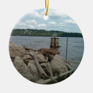 Mississippi River at Port of Dubuque Christmas Ornament