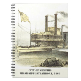 Mississippi Steamboat City of Memphis, 1860 Spiral Notebook