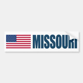 Missouri with US Flag Bumper Sticker