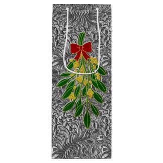 Mistletoe Silver Foil Look Pattern Wine Gift Bag