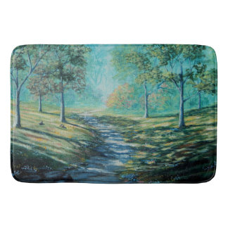 Misty Morning Path - sunny path/woods and rabbis Bath Mat