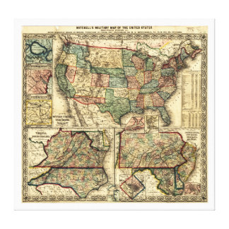 Mitchell's Military Map of the United States 1861 Canvas Print