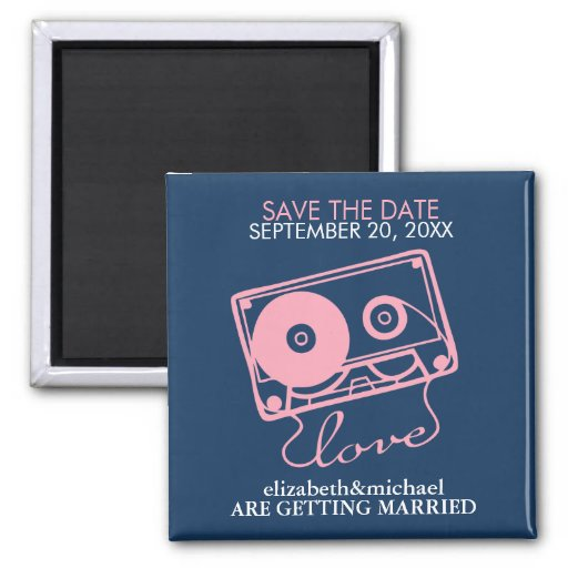 Mix tape of Love Save the Date Announcements Square Magnet