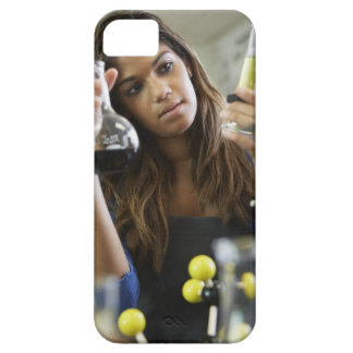 Mixed Race teenaged girl in science class iPhone 5 Cover