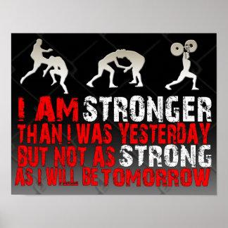 MMA BJJ Kick Boxing Stronger Poster