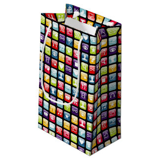 Mobile Phone App Icons Pattern Small Gift Bag