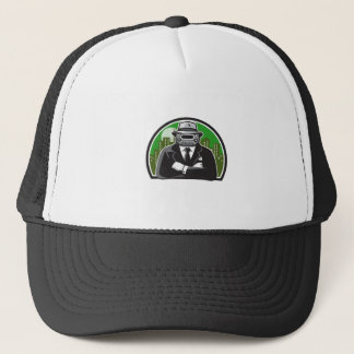 Mobster Car Grille Face Circle Retro Trucker Hat