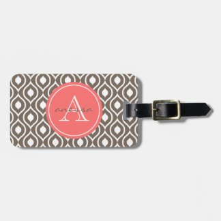 Mocha and Coral Gail Print Luggage Tag