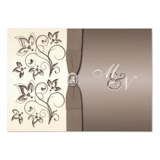 Mocha and Ivory Floral Monogram Invitation