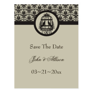 Mocha Lovebird Cage Save The Date Postcard