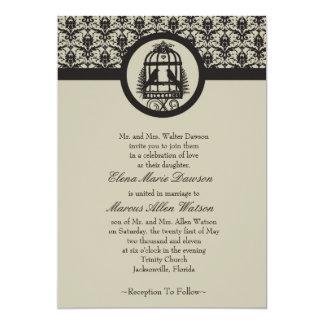 Mocha Lovebird Cage Wedding Invitation